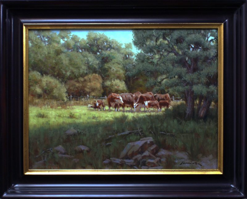 John Cox A Summer Day cows cattle ranch farm Texas hill country western landscape oil painting