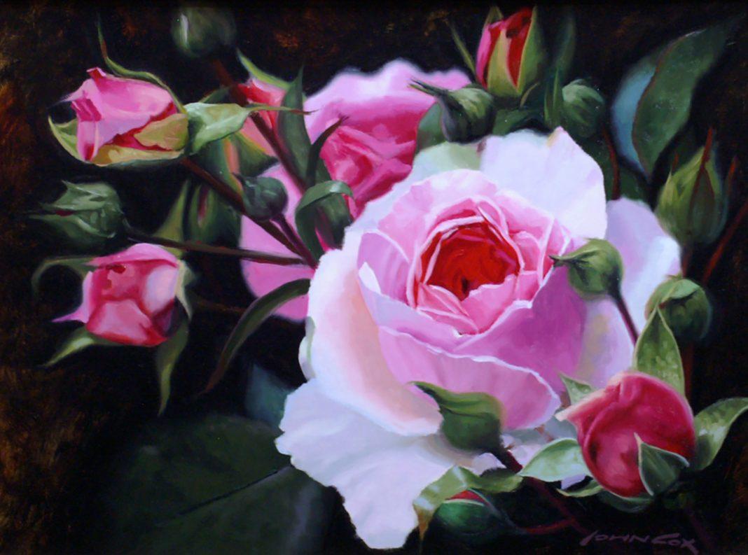 John Cox Garden Roses floral flowers still life oil painting