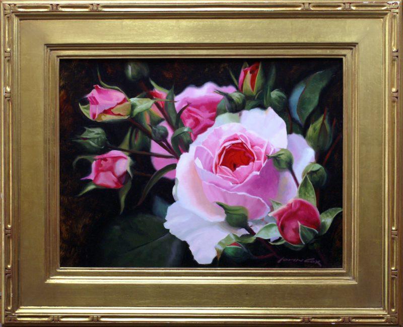 John Cox Garden Roses flower floral still life oil painting framed