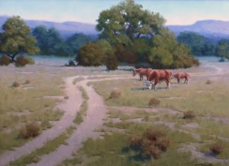 John Cox The Back Forty horses ranch farm Texas western oil painting
