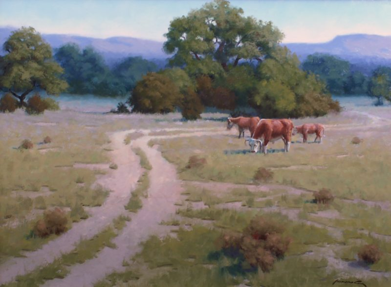 John Cox The Back Forty cows ranch farm Texas western oil painting