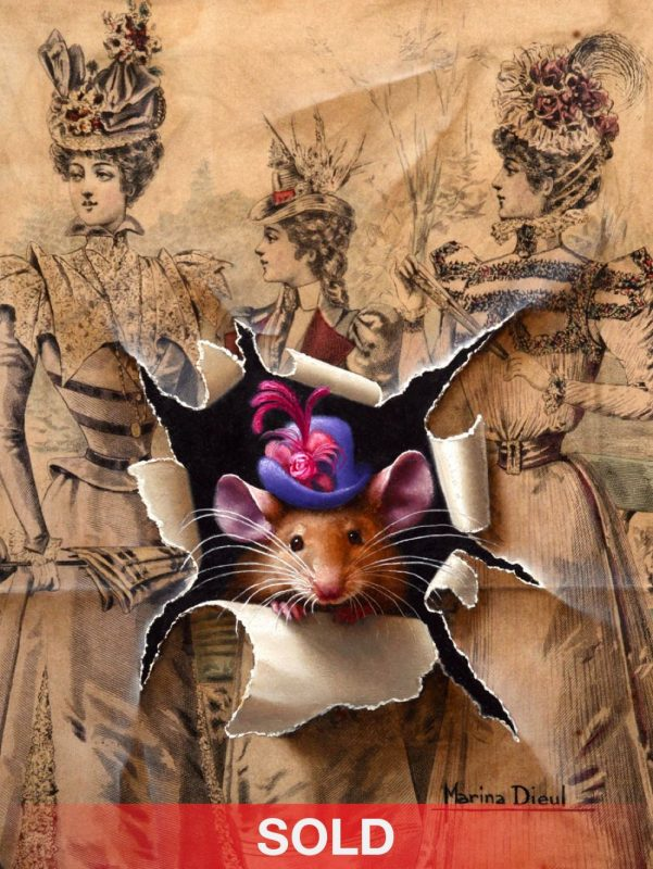 Marina Dieul A La Mode mouse mice trompe l'oeil realist realistic wildlife oil painting