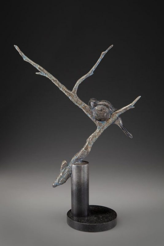 Tim Cherry Tucked In bird tree western wildlife bronze sculpture back