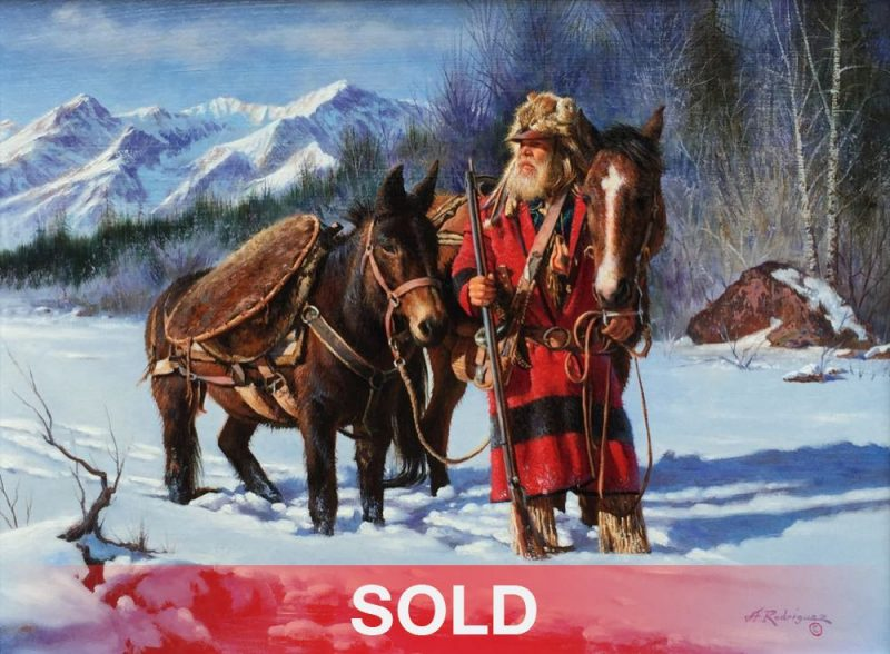 Alfredo Rodrigues Winter Journey mountain man trapper snow mountain horse mule western oil painting
