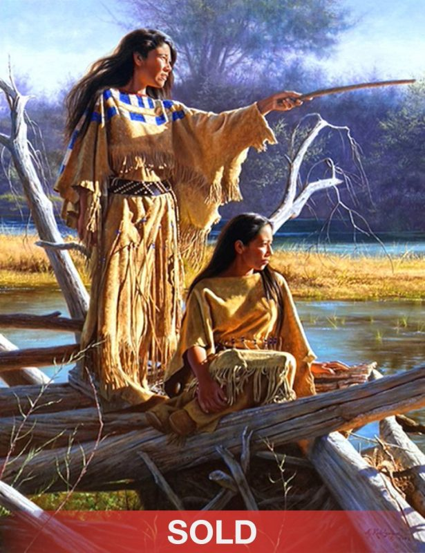 Alfredo Rodriguez Daughters of Nature Native American woman women western oil painting sold