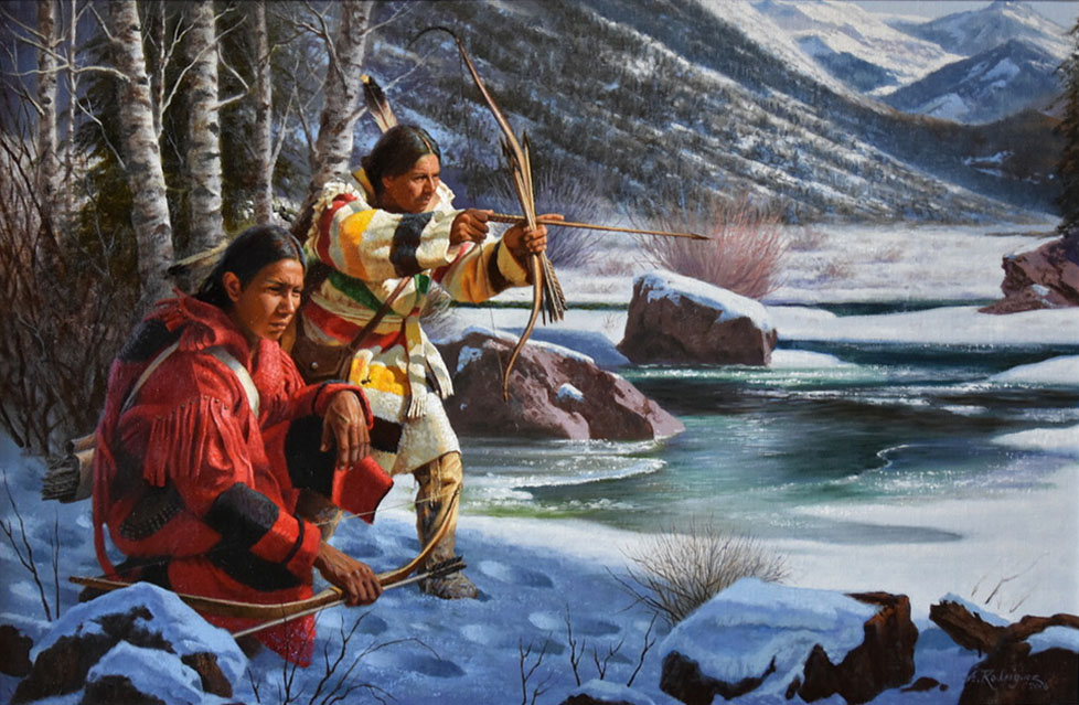 Alfredo Rodriguez Winter Hunters Native American bow arrow hunting ice snow icy stream river mountains western oil painting