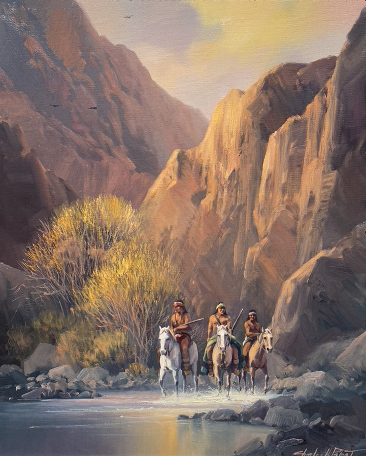 Charles Pabst Canyon Scouts Native American Horse canyon water river mountains trees western oil painting