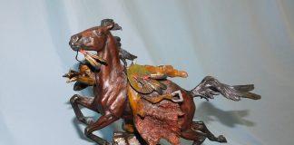 Ken Payne Phantom of the Plains Native American warrior horse battle rifle western bronze sculpture