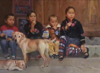 Mian Situ What's The Next Chinese Asian woman women child children dog figure figurative oil paintings