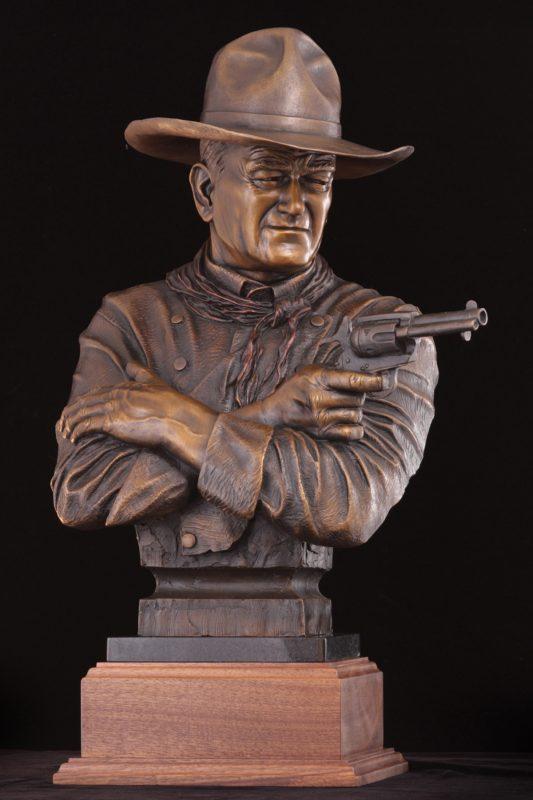 Michael Trcic Out Here A Man Settles His Own Problems John Wayne cowboy gun firearm pistol western bronze sculpture