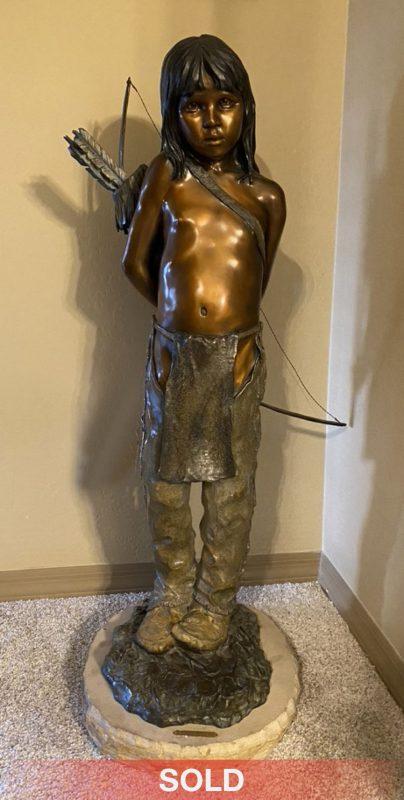 Walt Horton Bearfoot Native American boy western bronze sculpture sold