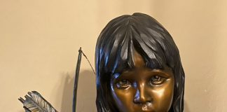 Walt Horton Bear Foot Native American boy western bronze sculpture closeup
