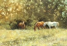 Bonnie Marris Queen Anne's Lace horses grazing equine pasture wildlife oil painting