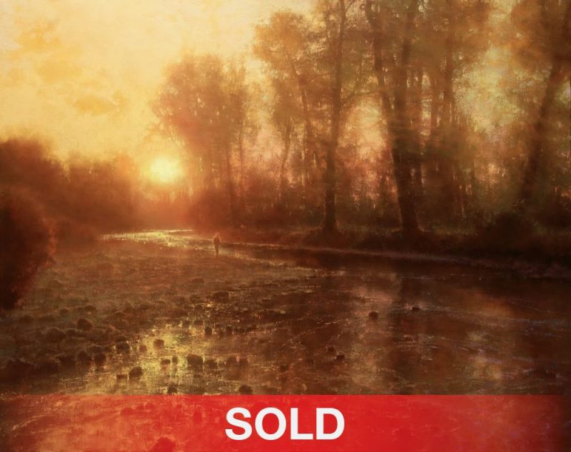 Brent Cotton Solitude of the River western landscape fish fly fishing oil painting stream river sunrise sold