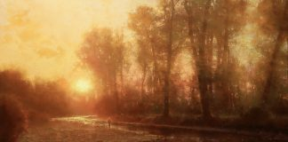 Brent Cotton Solitude of the River western landscape fish fly fishing oil painting stream river sunrise