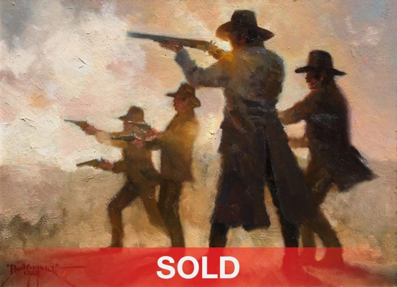Dan Mieduch One Day At the OK Corral cowboys guns pistol rifle shoot out Arizona western oil painting SOLD