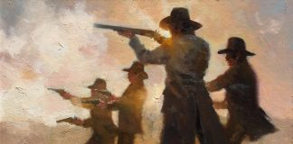 Dan Mieduch One Day At the OK Corral cowboys guns pistol rifle shoot out Arizona western oil painting