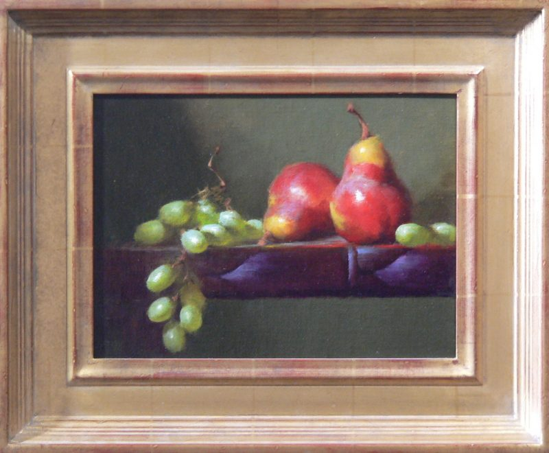 David Riedel Two Pears fruit still life oil painting framed