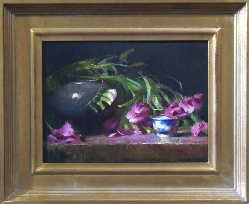 David Riedel Wild Pea Flowers porcelain still life oil painting framed