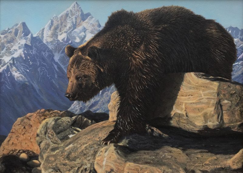 Adam Smith The Bear Climbed Over The Mountain grizzly wildlife acrylic painting