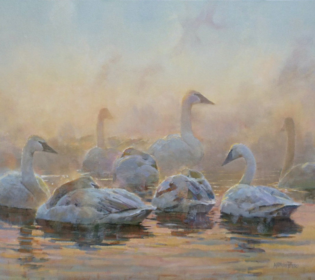 Andrew Peters Pleistocene Messengers geese gaggle pond lake wildlife oil painting