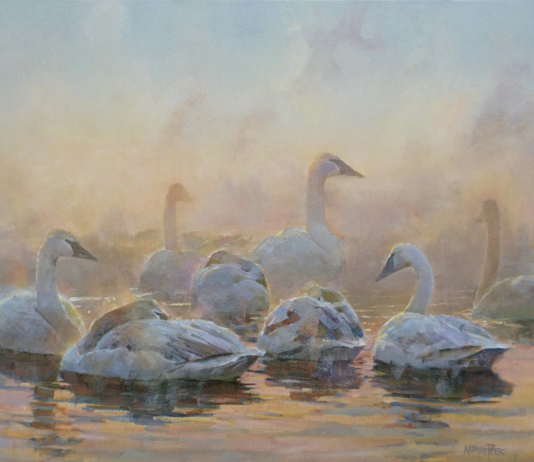 Andrew Peters Pleistocene Messengers geese gaggle pond lake wildlife oil painting