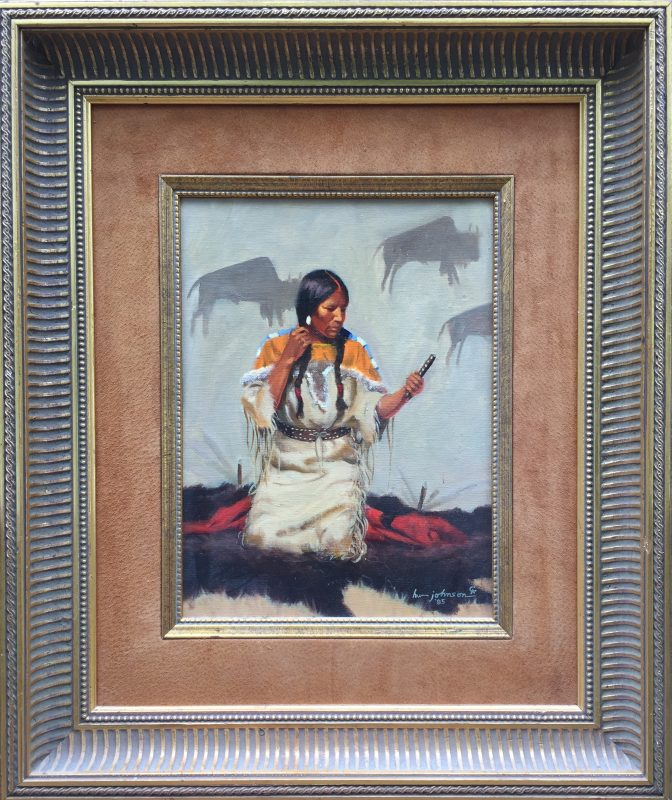 Harvey Johnson Blackfoot Beauty Native American woman girl tipi tee pee western oil painting framed Cowboy Artists of America