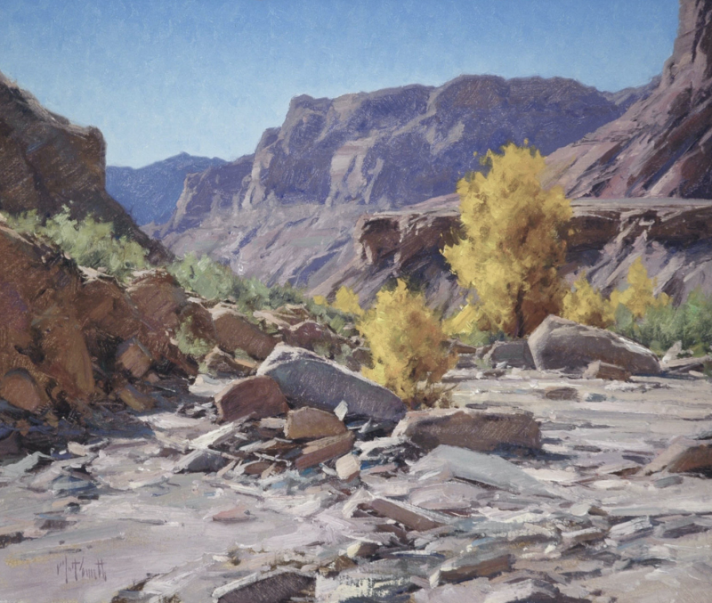 Matt Smith North Wash Autumn desert southwest dry river bed western landscape oil painting