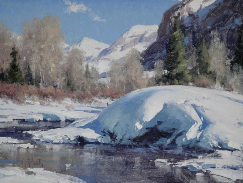 Matt Smith The San Miguel In Winter snow mountains stream river western landscape oil painting