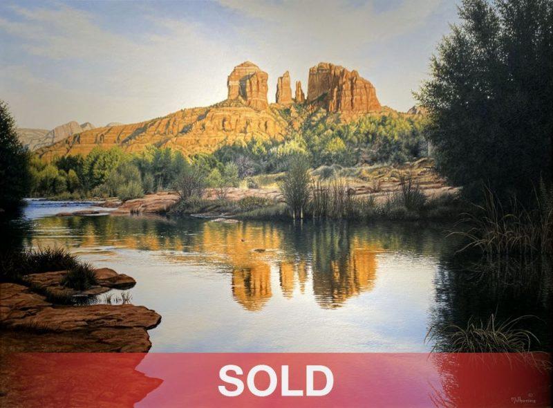 Denis Milhomme Red Rock Majesty Sedona Arizona mountain rock lake river western oil landscape