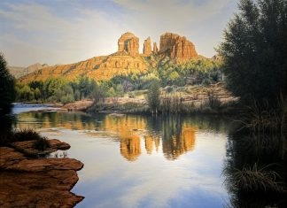 Denis Milhomme Red Rock Majesty Sedona Arizona mountain rock lake river western oil landscape