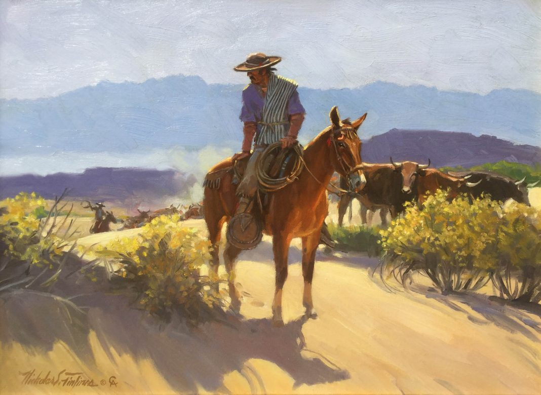 Nicholas Firfires Charro Cattle Drive Cowboy western oil painting