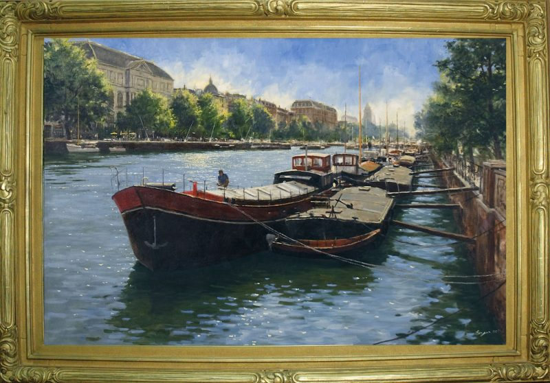 Richard Boyer Amsterdam Canal Boats Europe Brugge oil painting