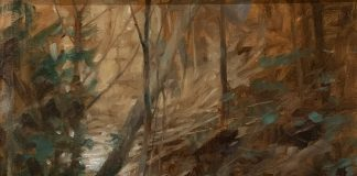 Andy Thomas Greeny Creek stream river landscape oil painting