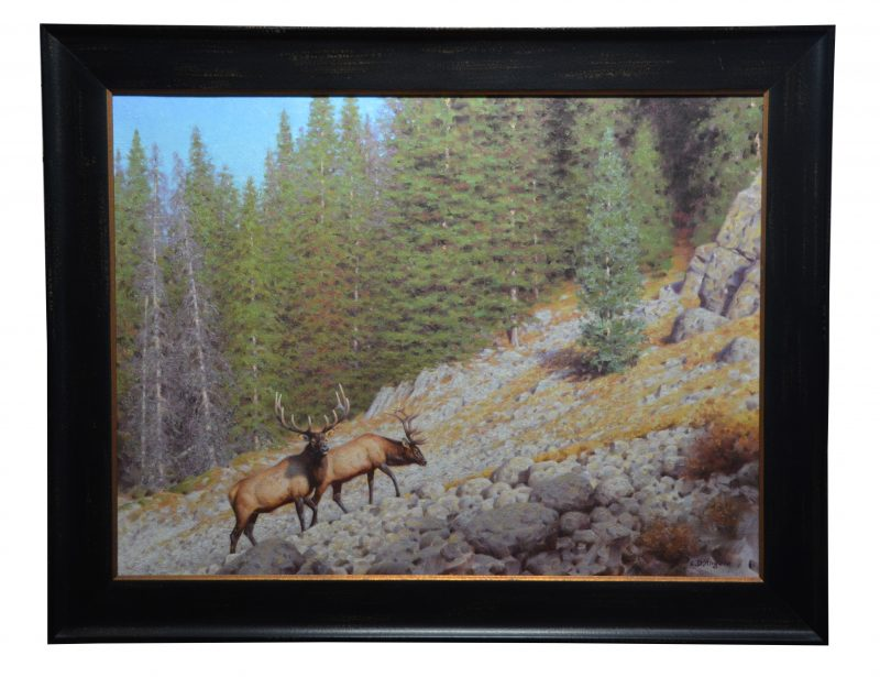 Claudio D'Angelo High Country Traverse elk mountain wildlife oil painting framed
