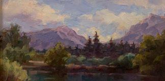 Cristy Kidwell Mountain Retreat lake mountains pine tree landscape oil painting