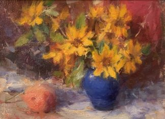 Dan Beck Sunflowers In Blue Vase still-life stillife sunflower peach fruit flower oil painting