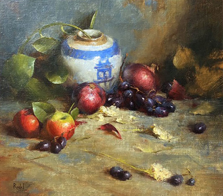 David Riedel White Vase oriental pot fruit apple grapes pomegranate still life oil painting