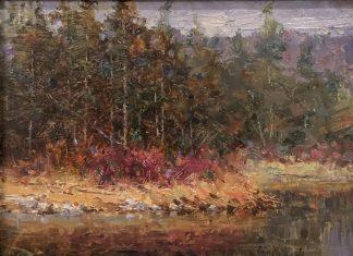 Eric Michaels Tamarisk river stream creek trees landscape oil painting