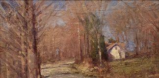 George Van Hook Country Road trees house architecture landscape oil painting