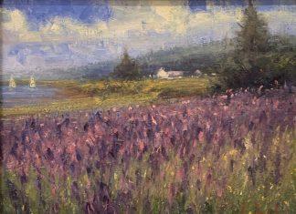 George Van Hook Wild Iris flower field landscape oil painting