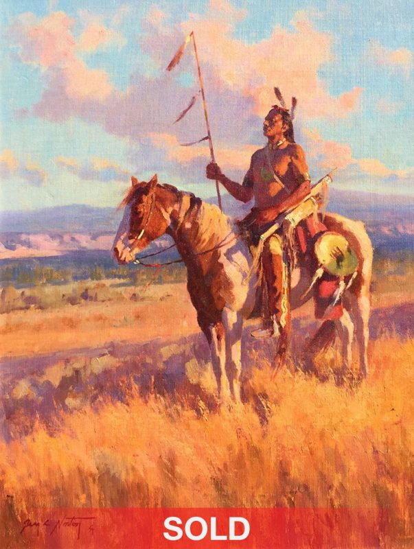 Jim Norton Sunset On A Proud People Native American Horse plains western oil landscape painting clouds sold
