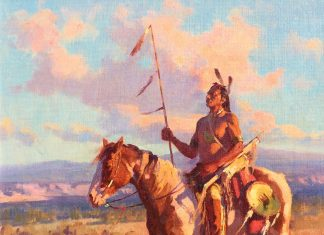 Jim Norton Sunset On A Proud People Native American Horse plains western oil landscape painting clouds