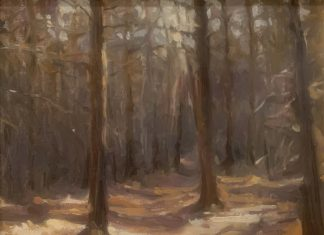 Karen Offutt Paths in The Woods forest trees landscape oil painting