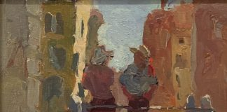 Lesley Rich Two Gondoliers Europe canal Italy architecture oil painting