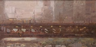 Miguel Malagon Downtown Chicago Ohio river bridge boat canal waterway river architecture oil painting