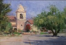 Mike Wise Carmel Courtyard mission California architecture oil painting