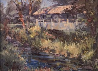 R. Gregory summers Along The Creek river stream bridge landscape oil painting