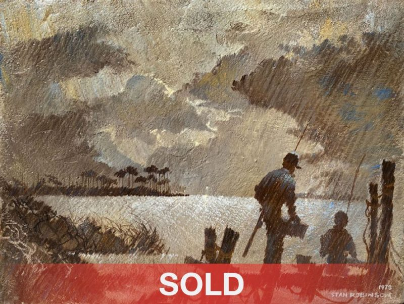 """Stan Robinson """"The Peaceful Hour"""" fish fishing father son grandfather grandson, moody sky water lake river sea North Carolina acrylic painting sold"""