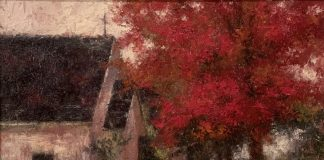 Todd Williams Country Church changing of season red maple tree landscape oil painting